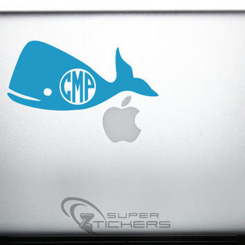 Whale 5- Decal Sticker Monogram Sea Animal Kids Room Design. Fishing Bumper Nautical Sticker Car Outdoor iPad Tablet Laptop Window Cellphone