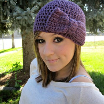 Purple Beanie with Bow