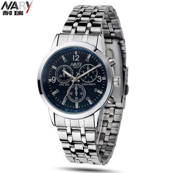 2015 Orologio Uomo Brand New With Tags Nary Stainless Steel Strap Analog Quartz Wrist Watch Men 3 Dial Decorated Fashion Watch