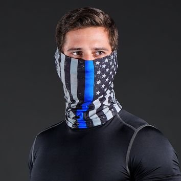 Tactical Thin Blue Line USA Flag Head N Nek