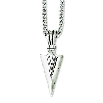 Stainless Steel Polished & Antiqued Dagger 22in Necklace SRN1048