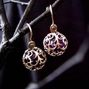 Sterling Silver and Gemstone Drop Earrings - Purple Amethyst Trapped in Lace Vines