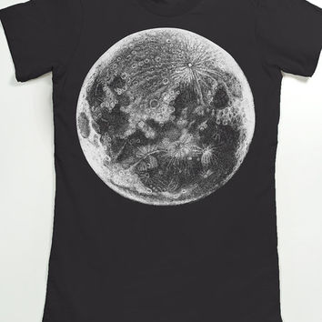 Moon T-shirt - Graphic Tee for Women - Women's shirt - Planet night sky