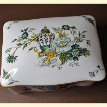 CROWN STAFFORDSHIRE Kowloon Pattern Fine Bone China Trinket Box with Lid, Functional Perfection! #A292