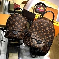 One-nice™ LV Louis Vuitton Women Casual Daypack School Bag Cowhide Leather Backpack