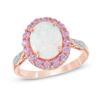 Oval Lab-Created Opal and Pink Sapphire Frame Ring in Sterling Silver with 14K Rose Gold Plate