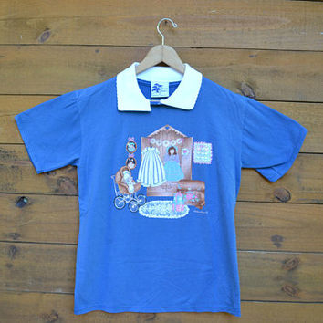 1970's Pleasant Shade T-Shirt with Collars Size Medium Wide Eye Dolls Creepy Doll House Grunge Hipster 50/50
