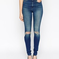 ASOS TALL Ridley High Waist Ultra Skinny Jeans In Monroe Wash With 2 Ripped Knees