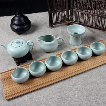 Drinkware 9pcs Celadon Noble China Kungfu Tea Sets Porcelain Tea Pot Exquisite Tea Cup Handmade Ceramics High Quality