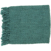 Woven Throw Blanket in Teal from the Tobias Collection by Surya