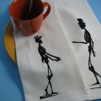 HIS AND HERS Set of 2 skeleton love Hand towels print with your choice of 6 ink colors.