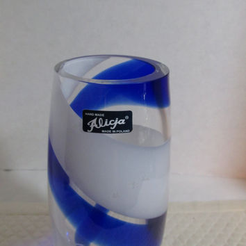 glass vase by Alicja blue and white stripe made in Poland, vintage 1980s