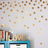 Yanqiao Gold Circle Dots Kids Room Wall Sticker Nursery Baby Room Kindergarten Classroom Decorative 54 Pcs/set