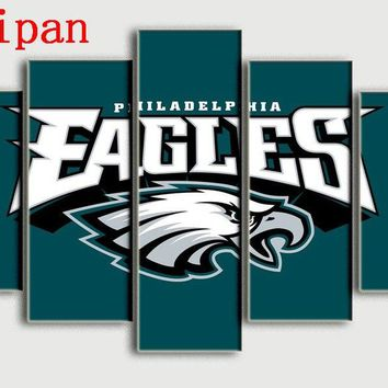 AtFipan Wall Art Modular Pictures 5Pcs Philadelphia Eagles Poster Top Selling Canvas Painting Hot Wall Pictures For Living Room