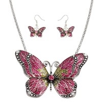 *Pink Butterfly Necklace Set