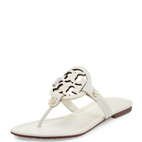 Tory Burch Miller Leather Logo Flat Slide Sandal | Neiman Marcus