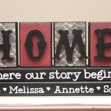 HOME Where our story begins wood blocks decor with family members name