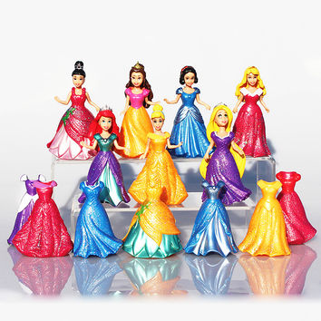 7pcs set Snow White Princess Action Figure Ariel Rapunzel Merida Cinderella Aurora Belle Princess Sexy Toys Girls Doll Dress #E