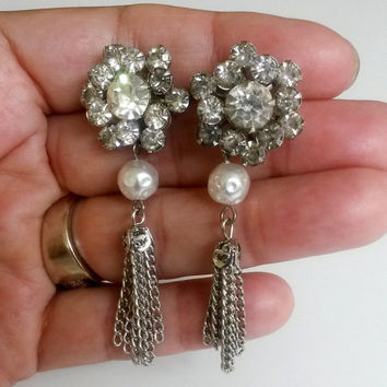 RePurposed Bridal Silver Tone Clear Rhinestone Fx Pearl Tassel Pierced Earrings OOAK