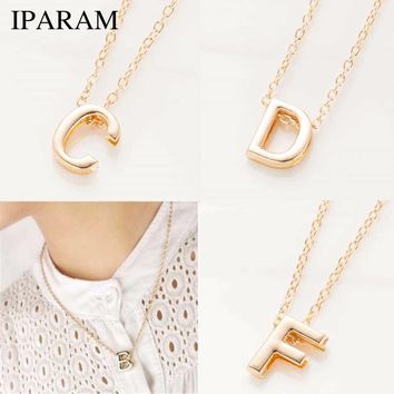 IPARAM new hot sale fashion Women's Metal Alloy DIY Letter Name Initial Link Chain Charm Pendant Necklace N125