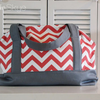 Coral Chevron and Gray Weekender Bag - Overnight Bag - Diaper Bag - Carryon