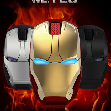 Wireless mouse Iron man appearance Creative power saving Notebook computer games mouse The coolest Art