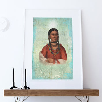 Vintage Native American Woman Illustration Art Print Vintage Giclee on Cotton Canvas or Paper Canvas Poster Wall Decor