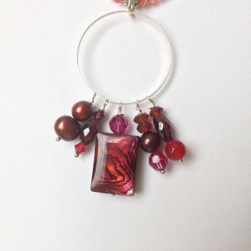 Red and Silver Necklace with a Red Abalone, Pearls and Garnet Pendant