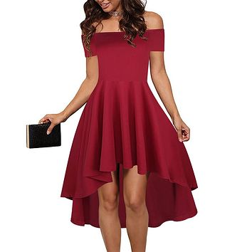 Berydress Elegant Women 2017 Wedding Party Dresses Sexy Club Off Shoulder Burgundy Skater Summer Dresses 2017 Vestido De Festa