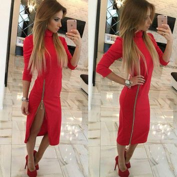 ESBON Fashion Zip Solid Color Bodycon Turtleneck Long Sleeve Maxi Dress