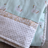 Mint gold baby quilt for girls , Ready to ship Swan crib bedding, Personalized swan blanket, Swan quilt, Homemade crib quilt,