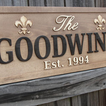 Personalized Last name sign Custom Wooden by michaelswoodworks