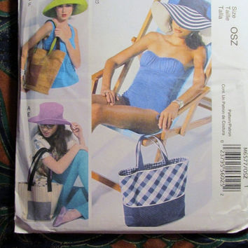 SALE Uncut McCall's Sewing Pattern, 6577! Fashion Accessories/Sun hats/Woven Hats/Cotton Hats/Straw Hats/Tote Bags/Hand Bags/Diaper bags