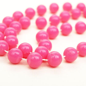 Pink Necklace, Plastic Bead Necklace, Beaded Necklace, Pink Beads, Plastic Necklace, Plastic Beads, 1980s Necklace, Long Necklace - 1980s