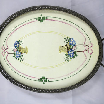 Antique Vanity Tray Art Nouveau Porcelain Floral Baskets Oval Metal Base w/ Handles Porcelain Insert Hand Painted Floral Basket 12 x 8 in.