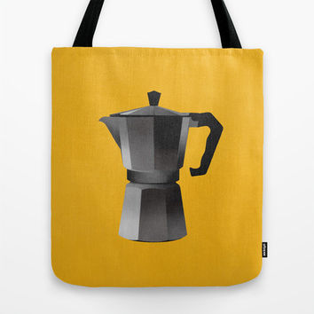 Tote bag - Bialetti coffee maker - summer bag illustration - coffee lovers yellow black vintage Italian