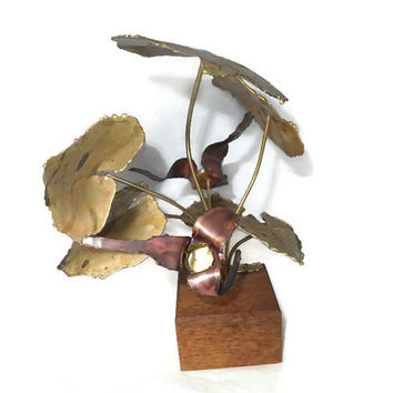 Vintage Metal Art Sculpture - Signed Bob Saxon 1970s, Flowers Metalwork on Wood, Mid Century Home Decor,