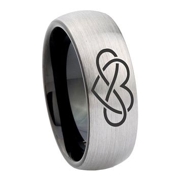 8mm Infinity Love Dome Tungsten Carbide Silver Black Mens Band Ring