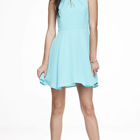 PLEATED KEYHOLE FIT AND FLARE DRESS - LIGHT BLUE from EXPRESS