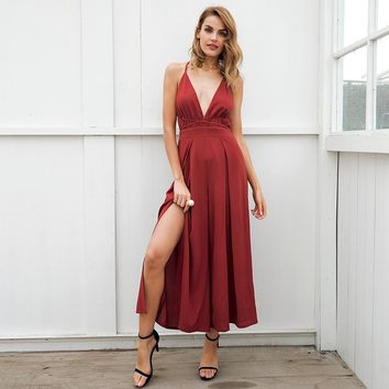 V neck backless halter high waist Split wide leg jumpsuit