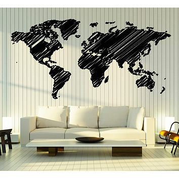 Vinyl Decal Wall Sticker World Map Continents Technique of Hatching Decor Unique Gift (n799)