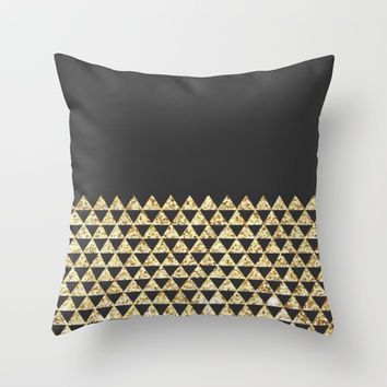 black & gold luxury; Throw Pillow by Pink Berry Patterns