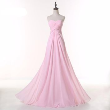 Pretty Pink A line Sweetheart Beaded Chiffon Floor length long evening dresses
