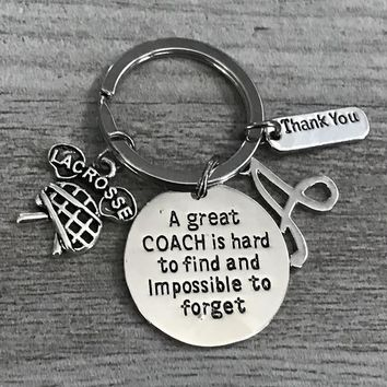 Personalized Lacrosse Coach Keychain- Great Coach is Hard to Find