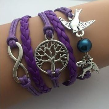 Double Infinity Multilayer Tree Birds Bracelet -Handmade