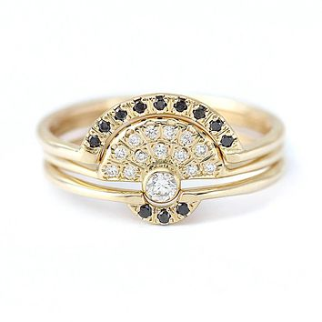 Solid 14K Yellow Gold White and black  Moissanite  Engagement Total 0.8ctw lab Diamond Solitaire Wedding Ring Set for Women