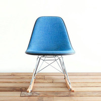 Classic Eames RSR - RARE - Marine Blue Pin-Check Tweed Hopsack on Rocking Base Side Chair