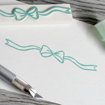 ribbon rubber stamp, long ribbon stamp, border stamp, divider rubber stamp, ribbon bow stamp, present wrapping label stamp, gift tag stamp