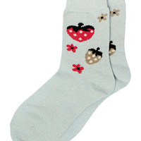 Strawberry Ankle Socks in Blue – bandbcouture.com