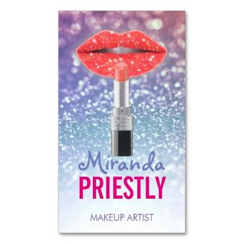 Makeup Artist Red Lips with Lipstick Glitter Business Card